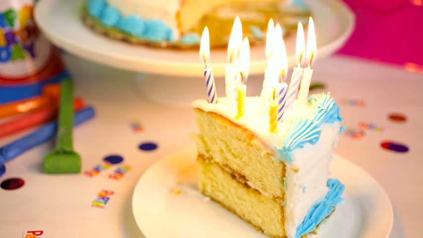 Super Simple White Birthday Cake Slice Stock Footage Video 100 Personalised Birthday Cards Akebfashionlily Jamesorg