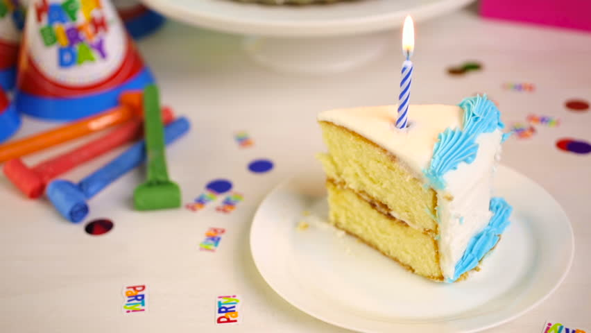 Outstanding Simple White Birthday Cake Slice Stock Footage Video 100 Personalised Birthday Cards Akebfashionlily Jamesorg