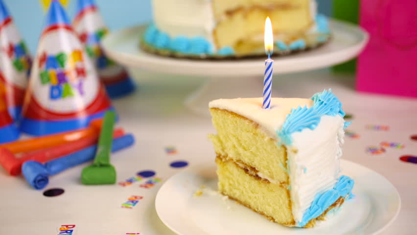 Magnificent Simple White Birthday Cake Slice Stock Footage Video 100 Royalty Personalised Birthday Cards Akebfashionlily Jamesorg