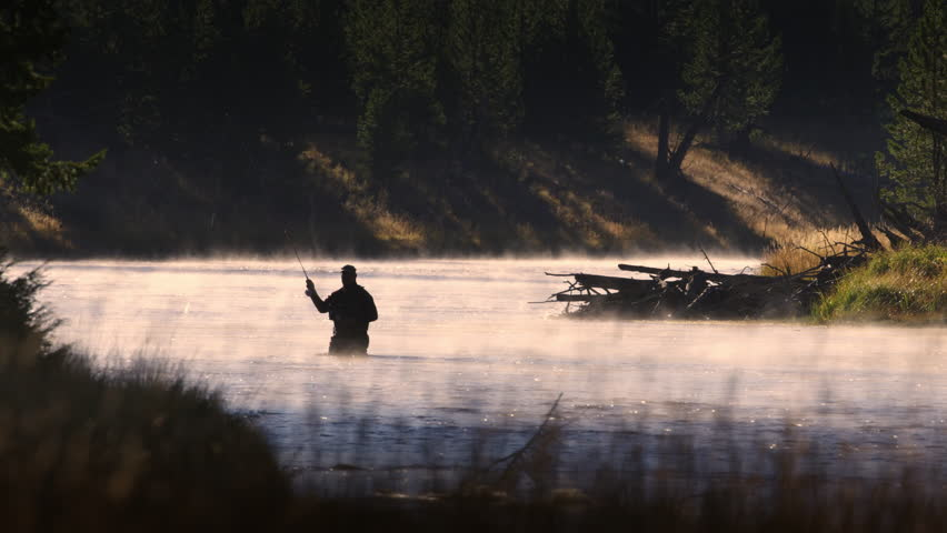 Silhouetted fly fisherman standing in the middle of scenic river.  Fishing line glinting in morning sunlight in slow motion. Yellowstone National Park, Wyoming and Montana, USA. 4K.