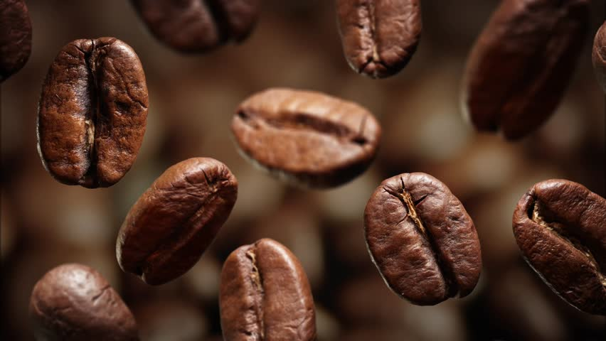 Roasted coffee beans with coffee dust falling down in front of dark background. Slow motion CG animation. | Shutterstock HD Video #15649585