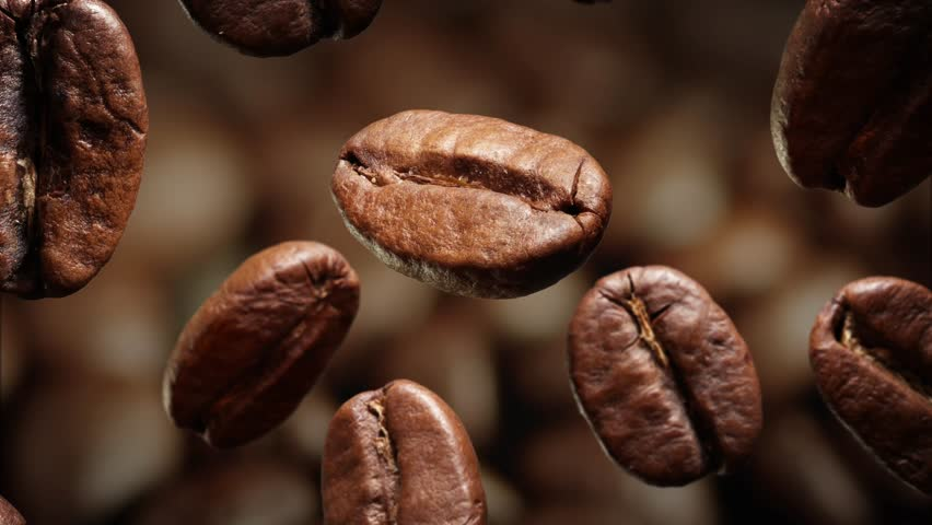 Roasted coffee beans with coffee dust falling down in front of dark background. Slow motion CG animation. | Shutterstock HD Video #15649591