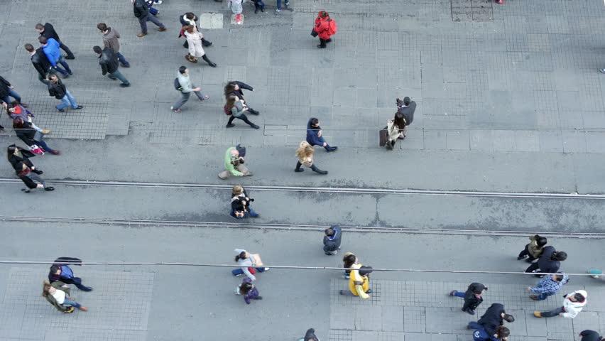 Crowd of people walking on Istiklal Street, Beyoglu, Istanbul, Turkey.