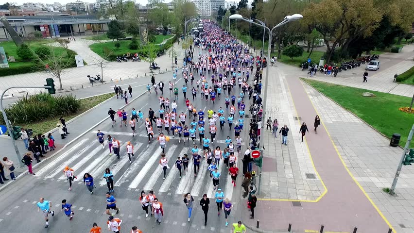 Thessaloniki, Greece - April 3, 2016: Aerial view of marathon city runners in the streets of Thessaloniki. The Marathon Alexander the Great is an annual event. | Shutterstock HD Video #15663469