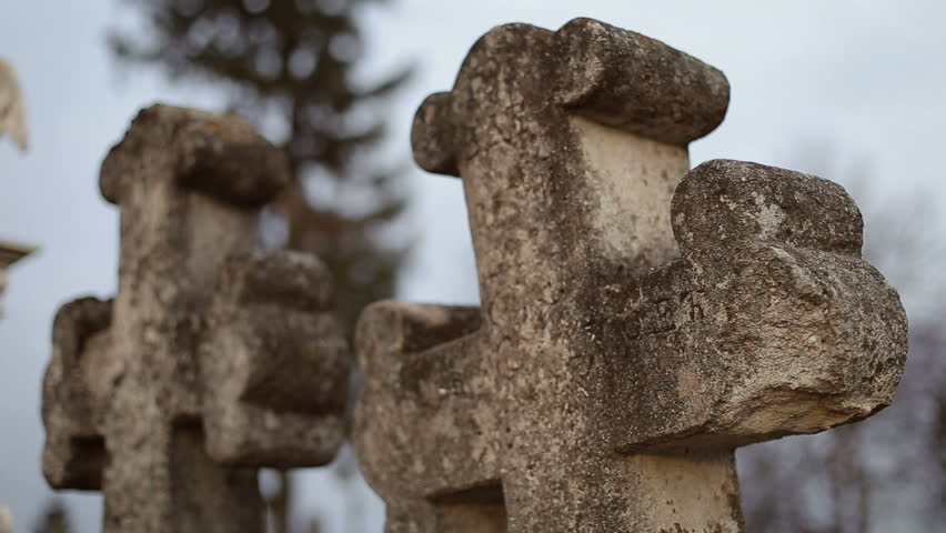 Two Ancient Crosses on Old Graveyard