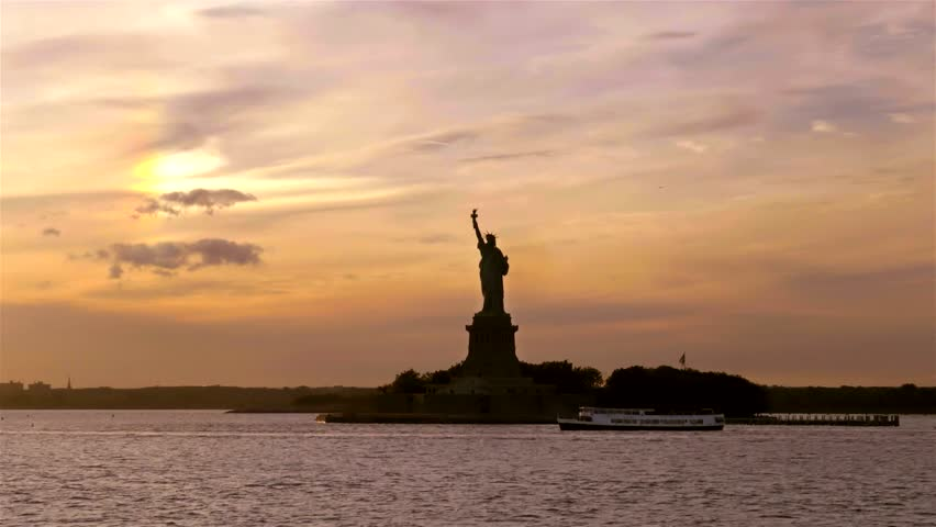 Statue of Liberty in the Sunset | Shutterstock HD Video #15707131