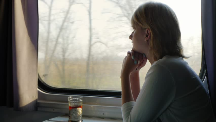 Young woman traveling by train, looking out the window | Shutterstock HD Video #15773533