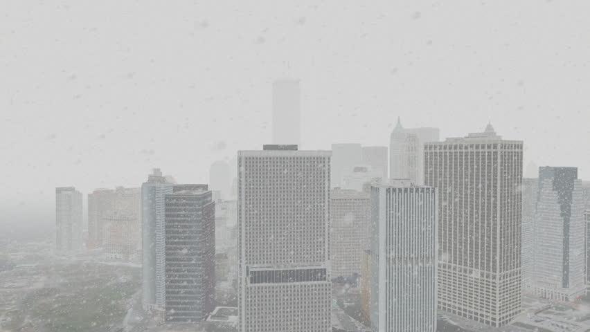 Lower Manhattan w/ WTC Snowfall Aerial 1080p