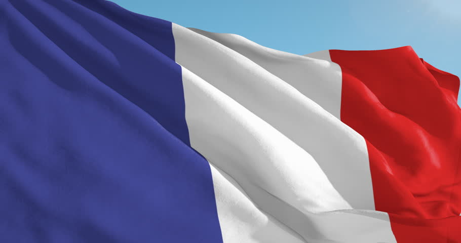 Beautiful looping flag blowing in wind: French Guiana