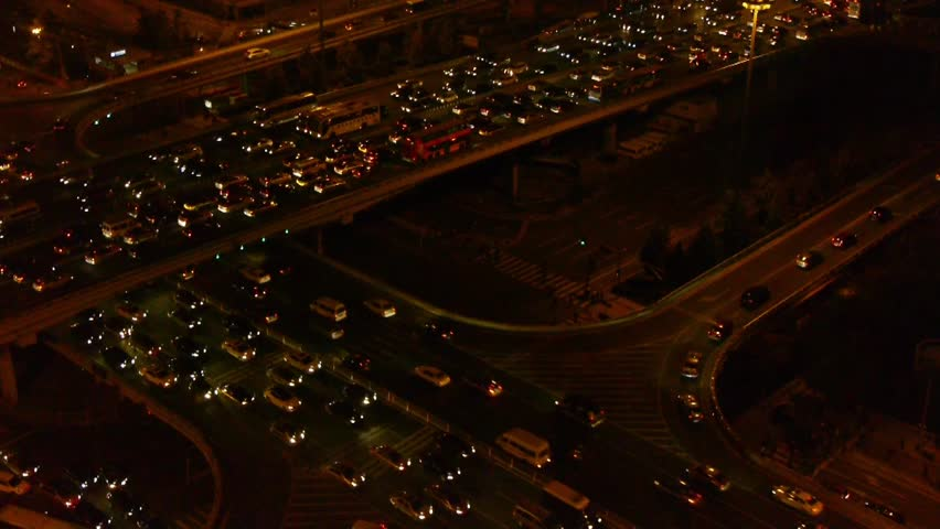 Aerial night view of traffic pollution in an urban city,China. gh2_05293 | Shutterstock HD Video #15792040