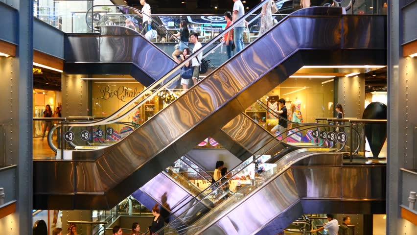 Escalator 4k shopping mall crowd of people buy shop center centre last minute sale sales purchases rush hour very busy full of clients big shopping mall complex time lapse timelapse fast video  #15805672