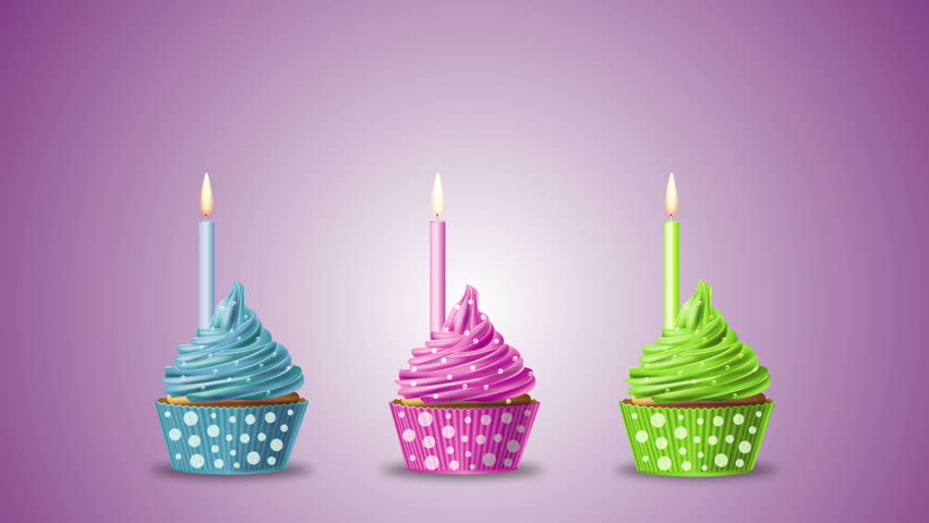 Fabulous Three Birthday Cupcakes With Candle Stock Footage Video 100 Birthday Cards Printable Trancafe Filternl