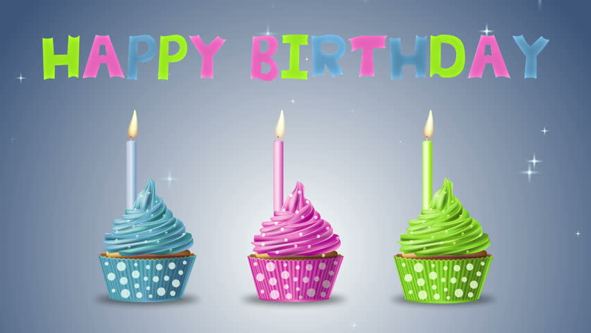 Groovy Happy Birthday With Cupcakes And Stock Footage Video 100 Royalty Funny Birthday Cards Online Eattedamsfinfo