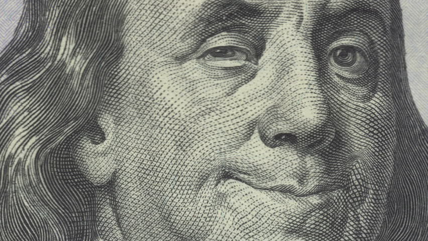 Animation of zoom in to close-up of Ben Franklin smiling and winking on US one hundred dollar bill. Meets regulatory requirements for public domain usage per 31 CFR 411. There is NO copyright issue.