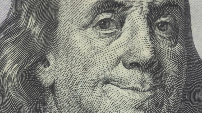 Animation of zoom in to close-up of Ben Franklin smiling on US one hundred dollar bill. Meets regulatory requirements for public domain usage per 31 CFR 411. There is NO copyright issue.  | Shutterstock HD Video #15817921
