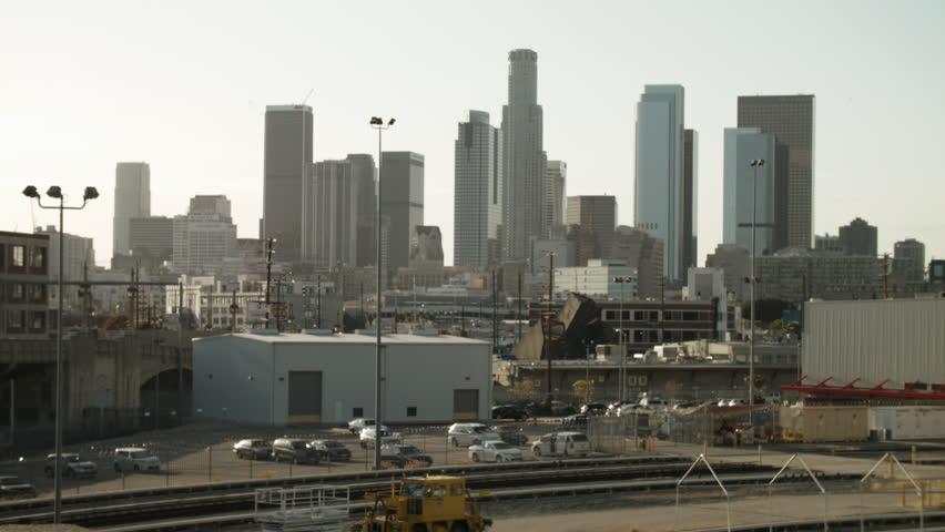 Los Angeles skyline from the 4th Street Bridge. | Shutterstock HD Video #15827416
