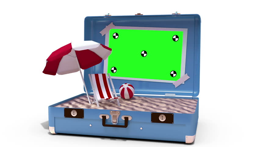 Beach accessories being drop in suitcase on white background
