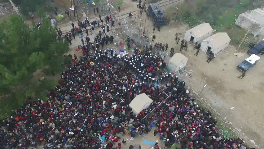 December 3, 2016. Drone captures as hundreds of refugees stranded at the Greece-Macedonia border try to enter Macedonia near the village of Idomeni