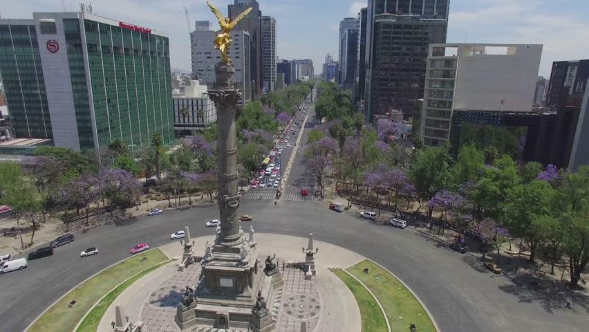 MEXICO - CIRCA 2016. Aerial top of view of the Angel de la Independencia in Reforma Avenue in Mexico City