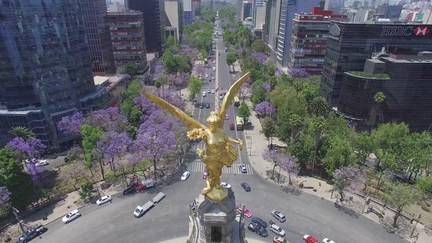 MEXICO - CIRCA 2016. Aerial shot of the Angel de la Independencia roundabout in Mexico City