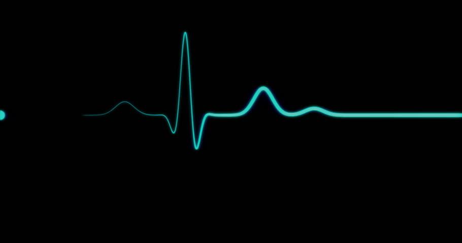 Loopable: EKG Monitor. Blue ECG monitor shows healthy heart beat. Seamless loop. (av23213c)