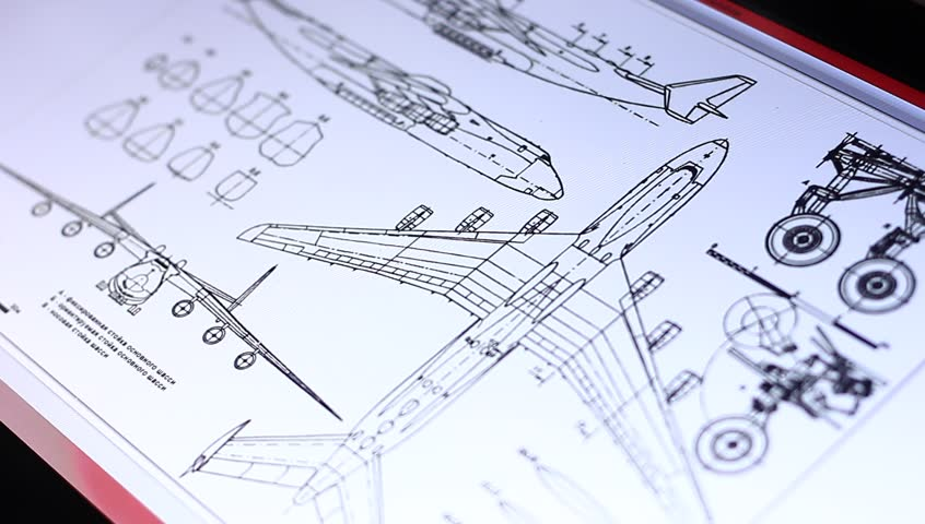 MOSCOW, RUSSIA, MAY 20, 2015: Technical drawing of airplane on touch screen computer in