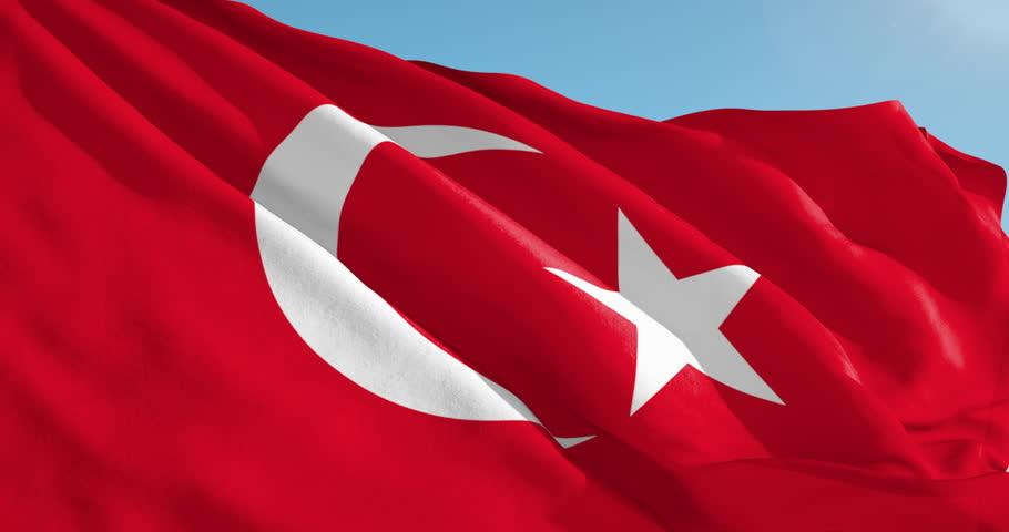 Beautiful looping flag blowing in wind: Turkey
