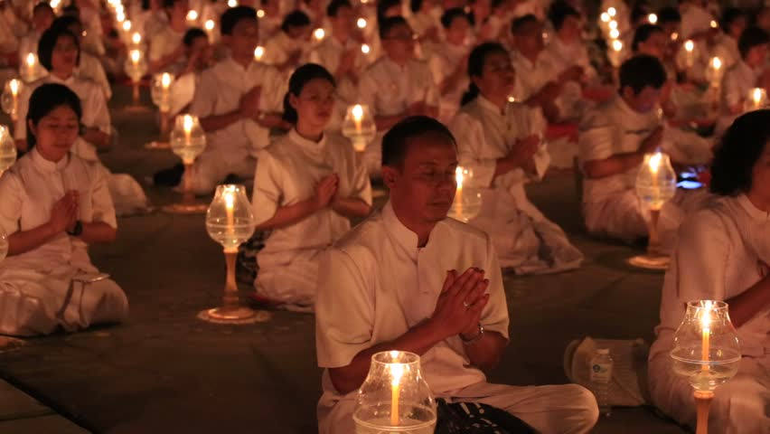 BANGKOK,THAILAND - FEBRUARY 22, 2016: Unidentified Thai people and monks during Buddhist ceremony Magha Puja Day in Wat Phra Dhammakaya   Shutterstock HD Video #15943330