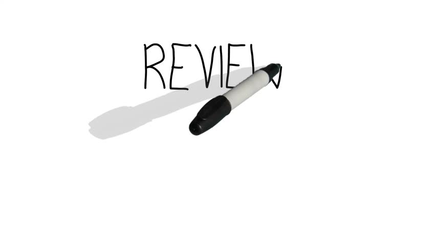 A moving black pen with a shadow writes on a plain white surface 'review' Royalty-Free Stock Footage #15945622