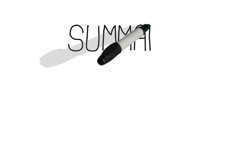 A moving black pen with a shadow writes on a plain white surface 'summary' Royalty-Free Stock Footage #15945652