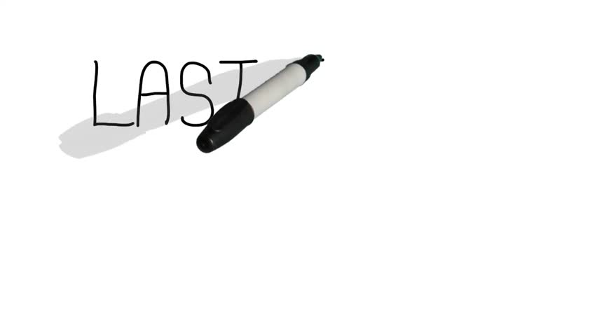 A moving black pen with a shadow writes on a plain white surface 'last time...' Royalty-Free Stock Footage #15945760