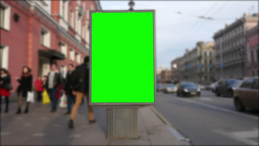 Billboard green screen in St. Petersburg. timelapse