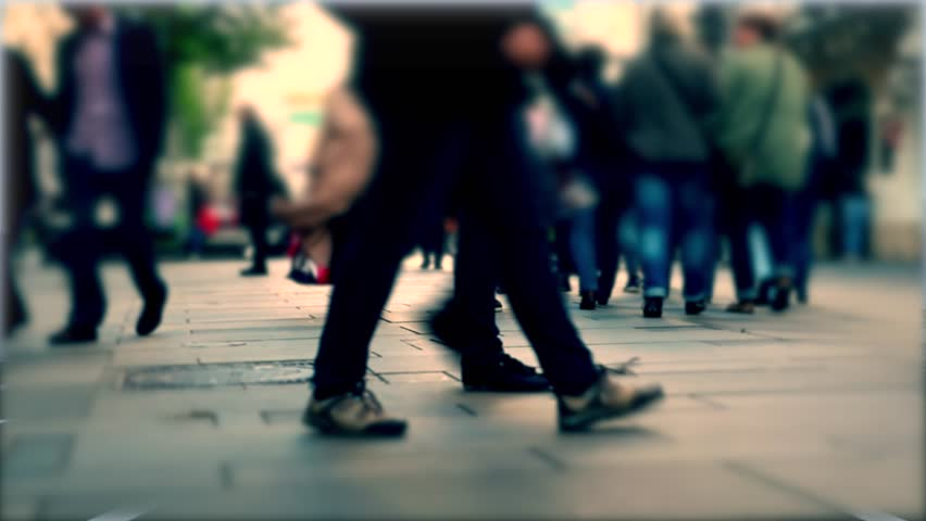 people walking on busy street in big city,center in the city with people rush ,abstract people in the city,4k #15951829