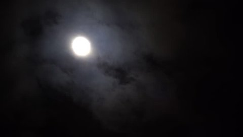 Full moon with clouds moving past. Real time footage. 4k UHD Ultra HD.