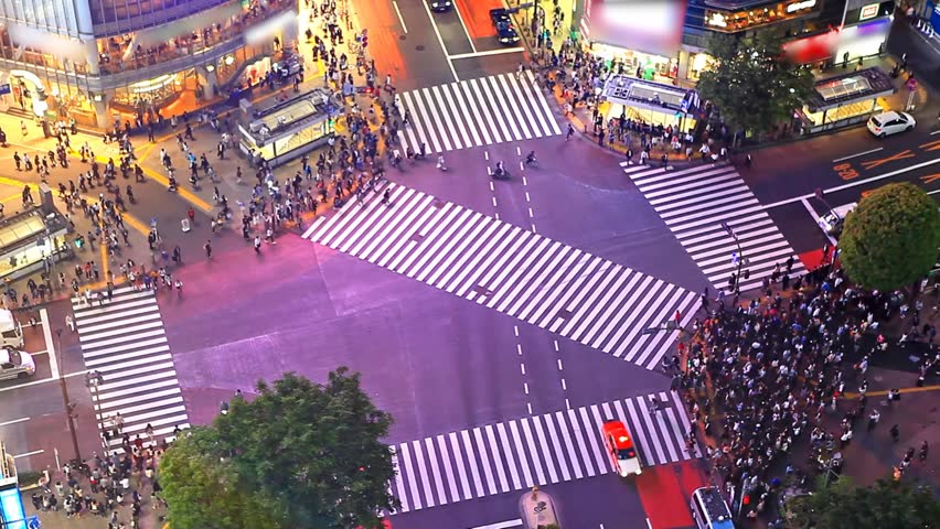 Tokyo's Shibuya pedestrian crossing also known as Shibuya scramble | Shutterstock HD Video #15993712