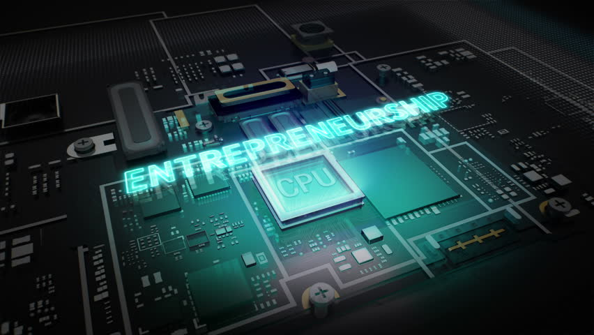 Hologram typo 'Entrepreneurship' on CPU chip circuit, grow artificial intelligence technology. | Shutterstock HD Video #16019014