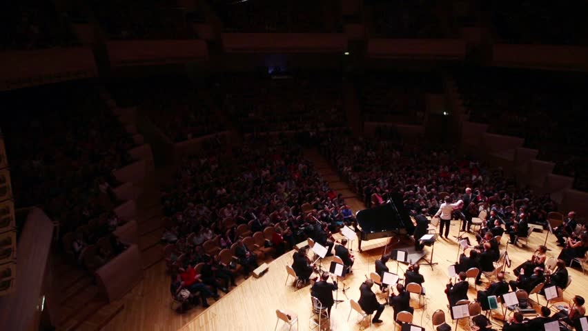 MOSCOW - APR 20, 2015: Applause at concert devoted to 100th anniversary of David Ashkenazy in House of Music, Svetlanov hall