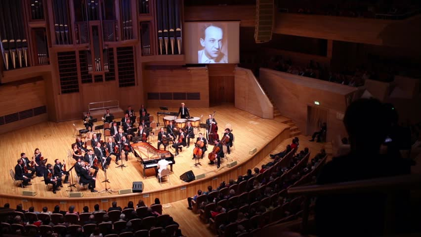 MOSCOW - APR 20, 2015: Orchestra at concert devoted to 100th anniversary of David Ashkenazy in House of Music, Svetlanov hall