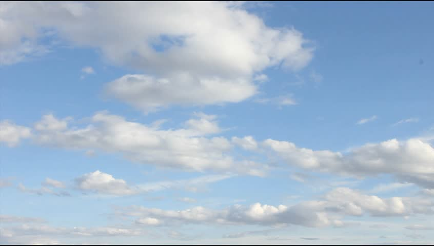 White, real, nice, soft clouds & blue sky. UHD.