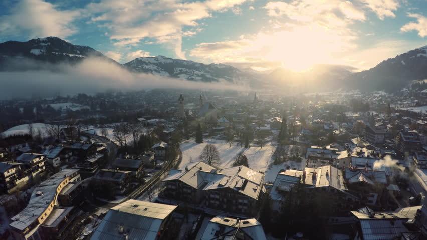 Aerial shot of Kitzbuehel at sunrise in winter #16025908