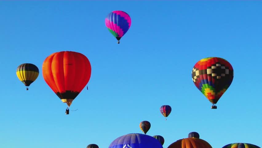 Colorful balloons rise above the Albuquerque Balloon Festival