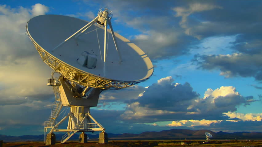 A satellite dish moves in time-lapse against a beautiful sky | Shutterstock HD Video #1603558