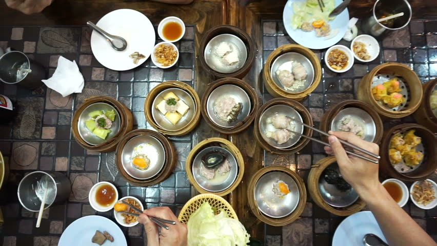 Steaming Dim Sum eating, top view point of variety traditional Chinese food  #16036963