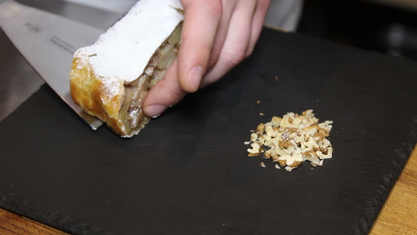 preparing of strudel with apples