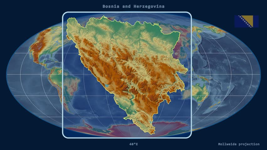 Zoomed-in view of a Bosnia and Herzegovina outline with perspective lines against a global relief map in the Mollweide projection | Shutterstock HD Video #16061122