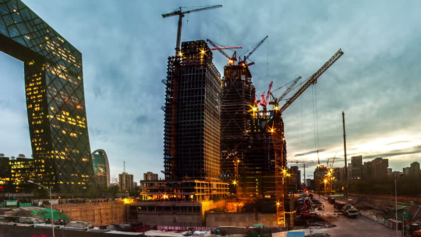 China Zun, is a supertall skyscraper under construction in the Central Business District of Beijing. One of many construction sites in Beijing. Timelapse.    Shutterstock HD Video #16075918