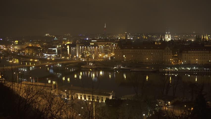 Vltava River Prague Timelapse at Night 2 HD   Shutterstock HD Video #16090774