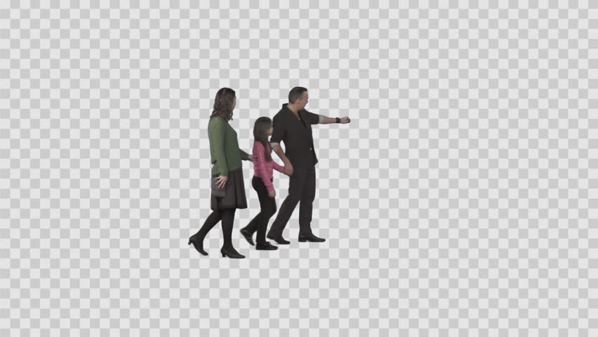 Family (father, mother, daughter) walks & looks at something. Footage with alpha channel. File format - .mov, codec PNG+Alpha. Shutter angle -180 (native motion blur)