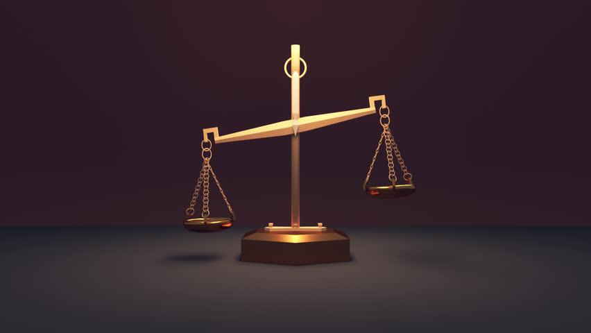 3d Golden Scales of Justice Arkivvideomateriale (100 % royaltyfritt ...