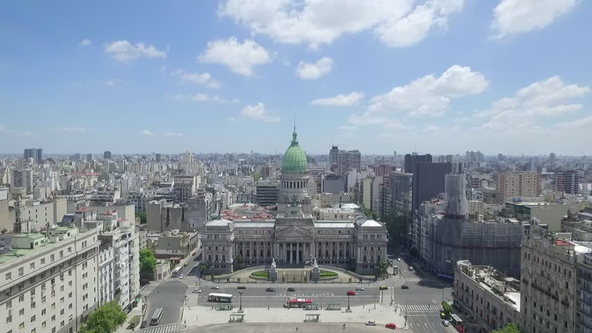 Aerial Drone Scene of Congress of the Argentine Nation. Travelling out.Aerial View of Congress, Congress Square, City Landscape, Historic Building, and Towers of the City.Buenos Aires-Argentina